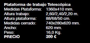 Características Plataforma Svelt Telestep (precio sin IVA 21%)